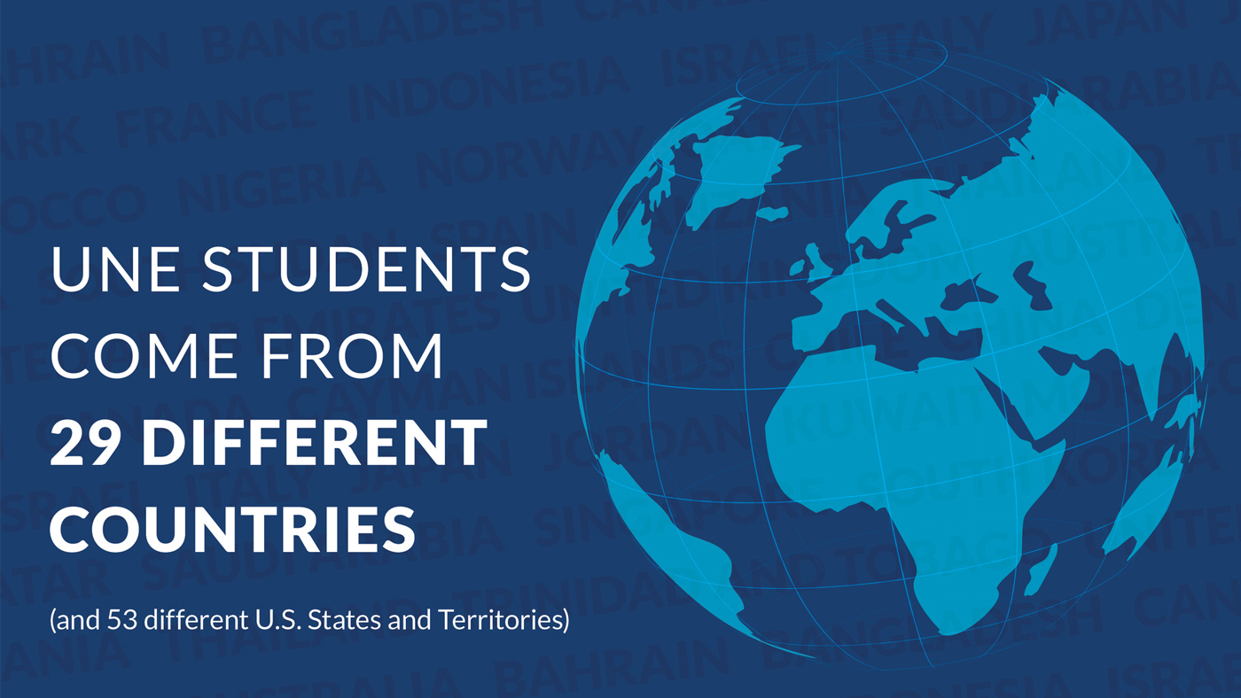 u n e students come from 29 different countries