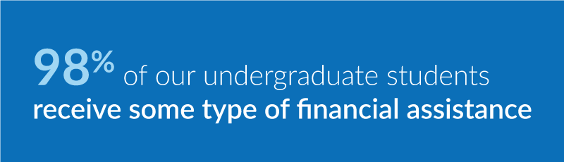 98% of U N E undergraduate students receive some type of financial aid