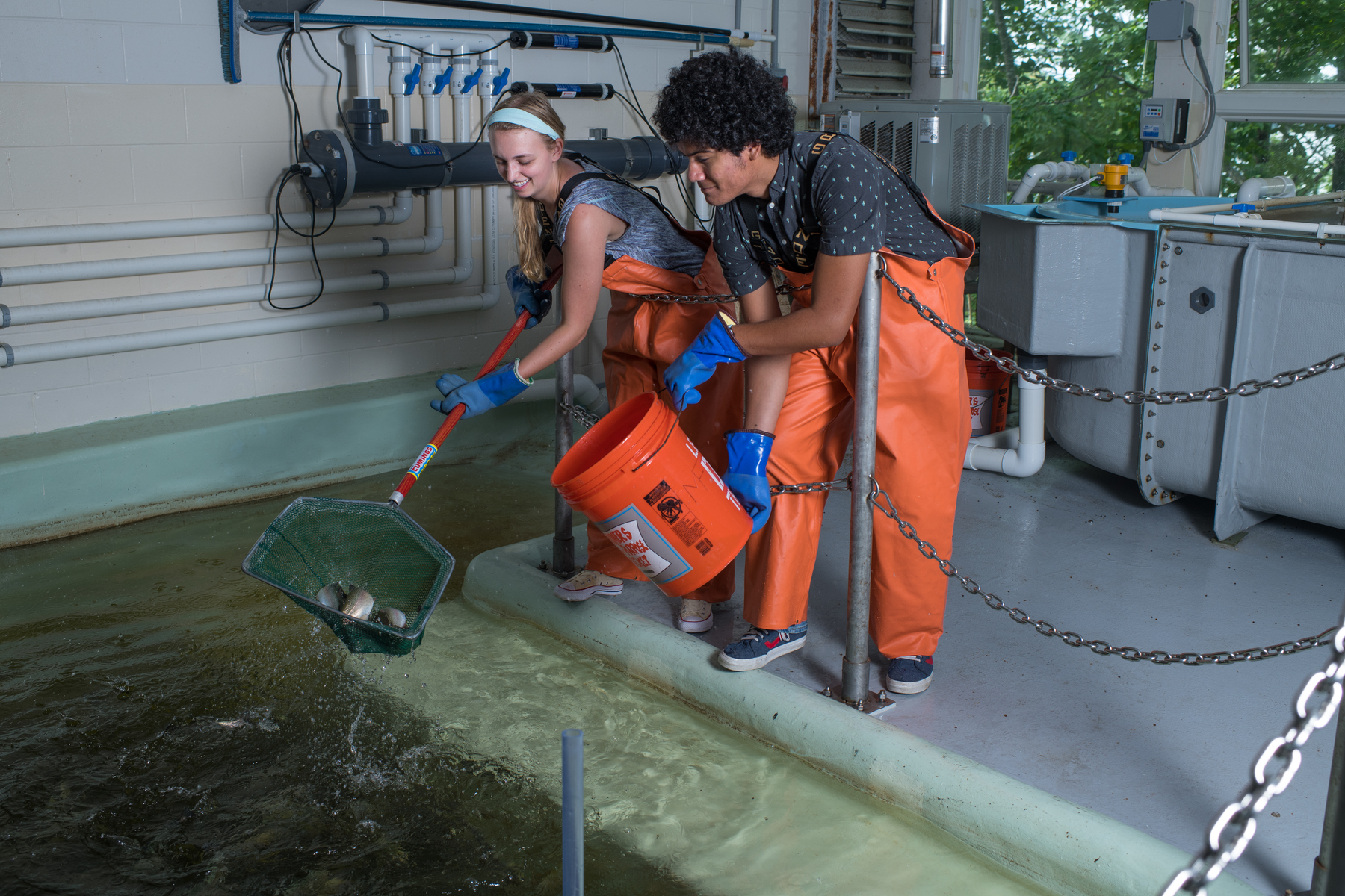 Students do research in the Marine Science Center