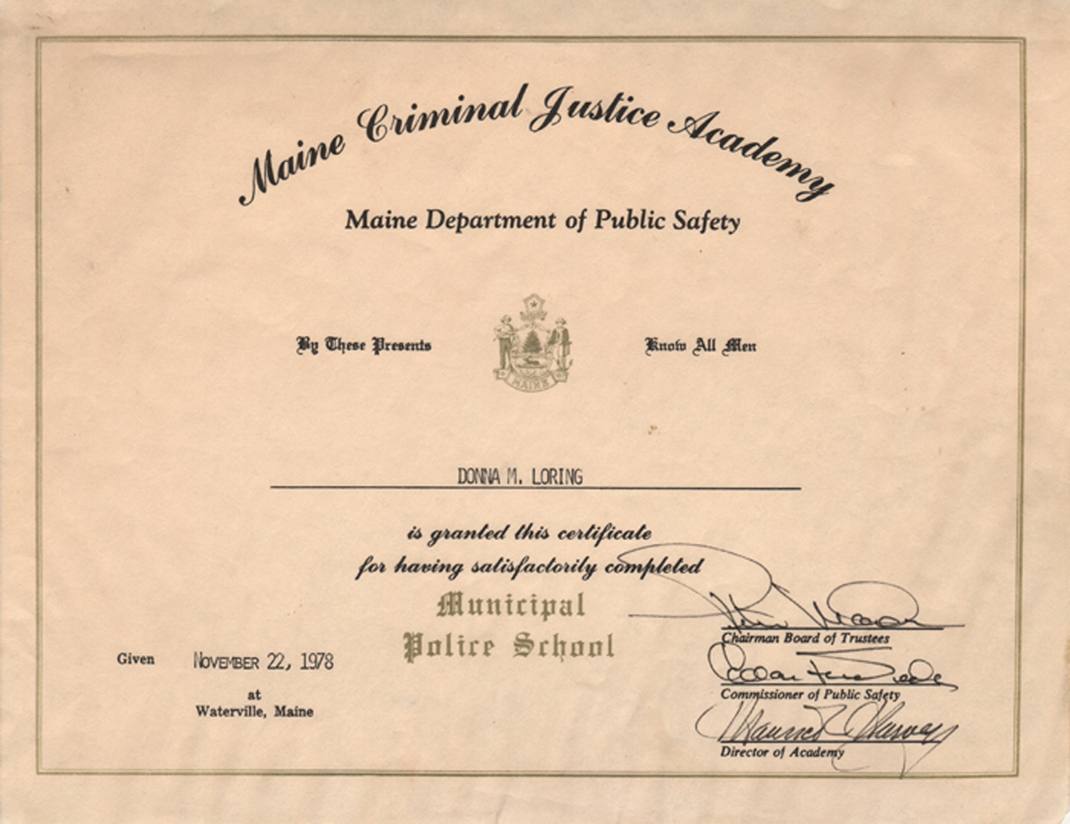 Personal life 1978 2009 maine women writers collection maine criminal justice academy certificate 1978 xflitez Images