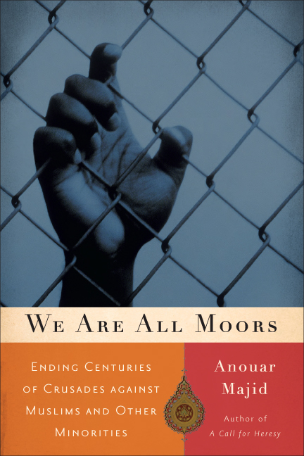 Cover image of We Are All Moors featuring a hand reaching up to grasp a chain-link fence