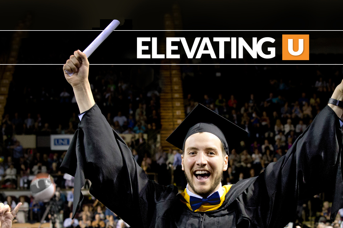 "Student holding up diploma with the headline ""Elevating U"""