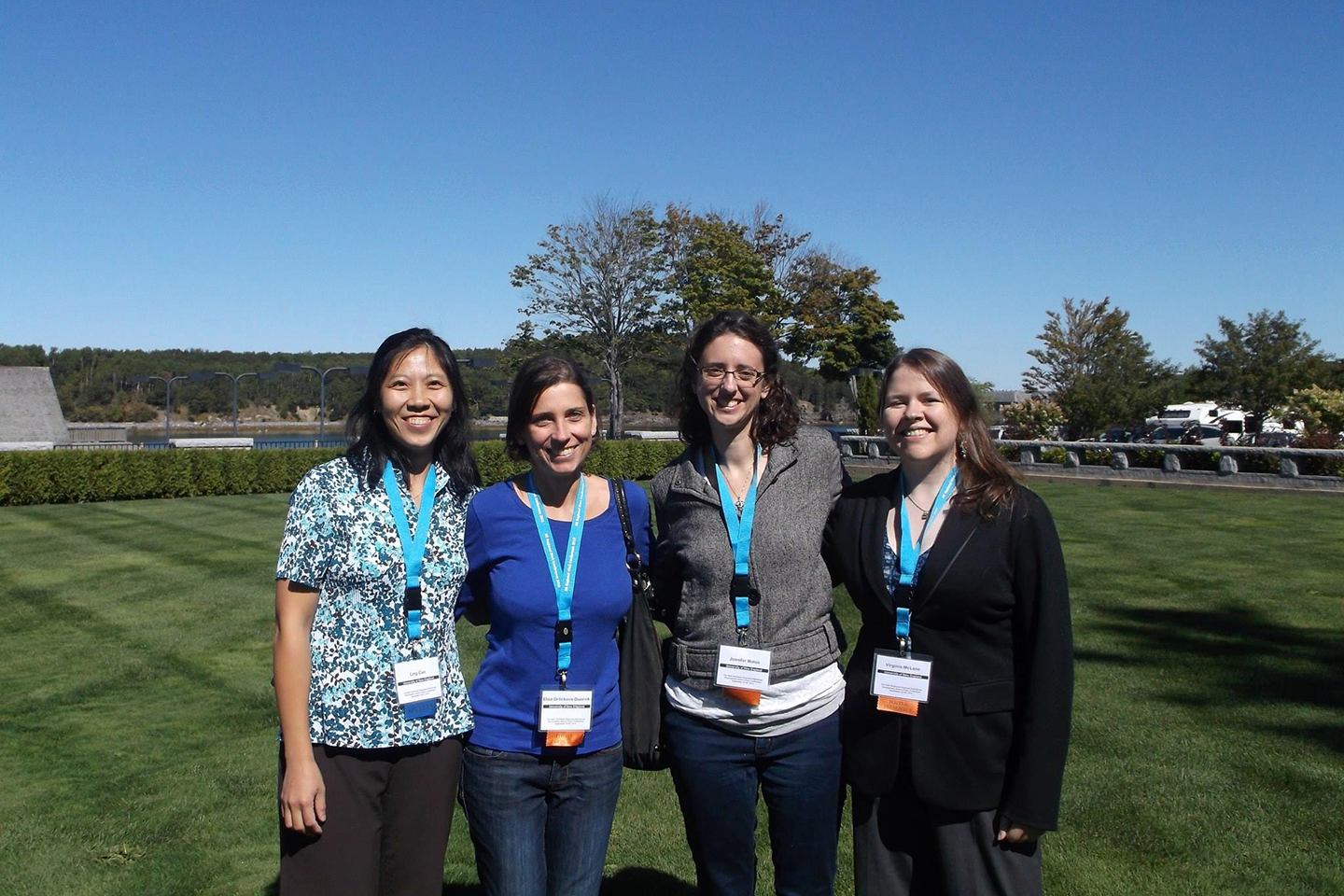 GSBSE faculty member Ling Cao, M.D., Ph.D., associate professor in the department of Biomedical Sciences, College of Osteopathic Medicine, at a local conference with GSBSE student and Eliza Grlickova-Duzevik, M.D., Ph.D. (UMaine '17), lab manager Jennifer Malon, M.S., M.P.H., and GSBSE student Ginny McLane, Ph.D. (UMaine '16).