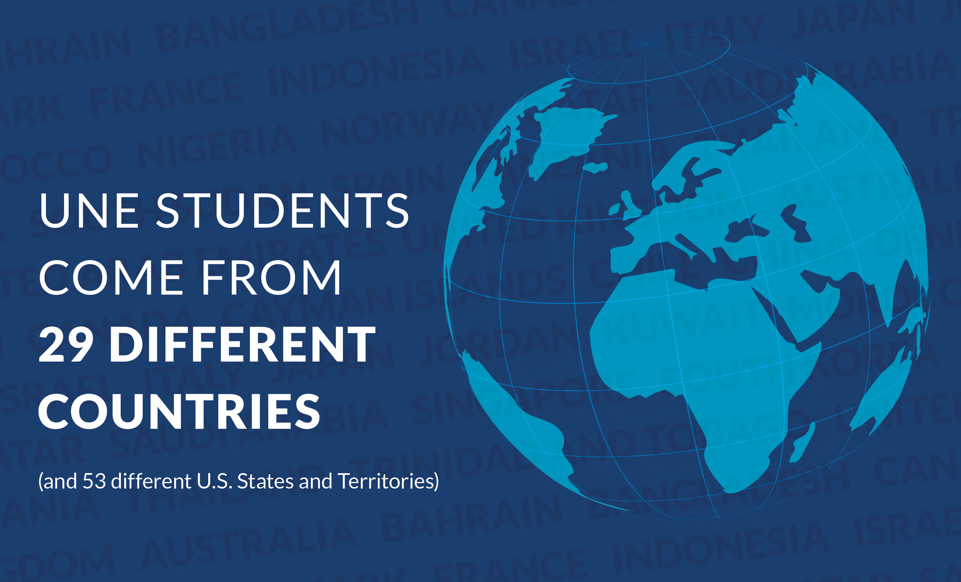 UNE students come from 29 countries