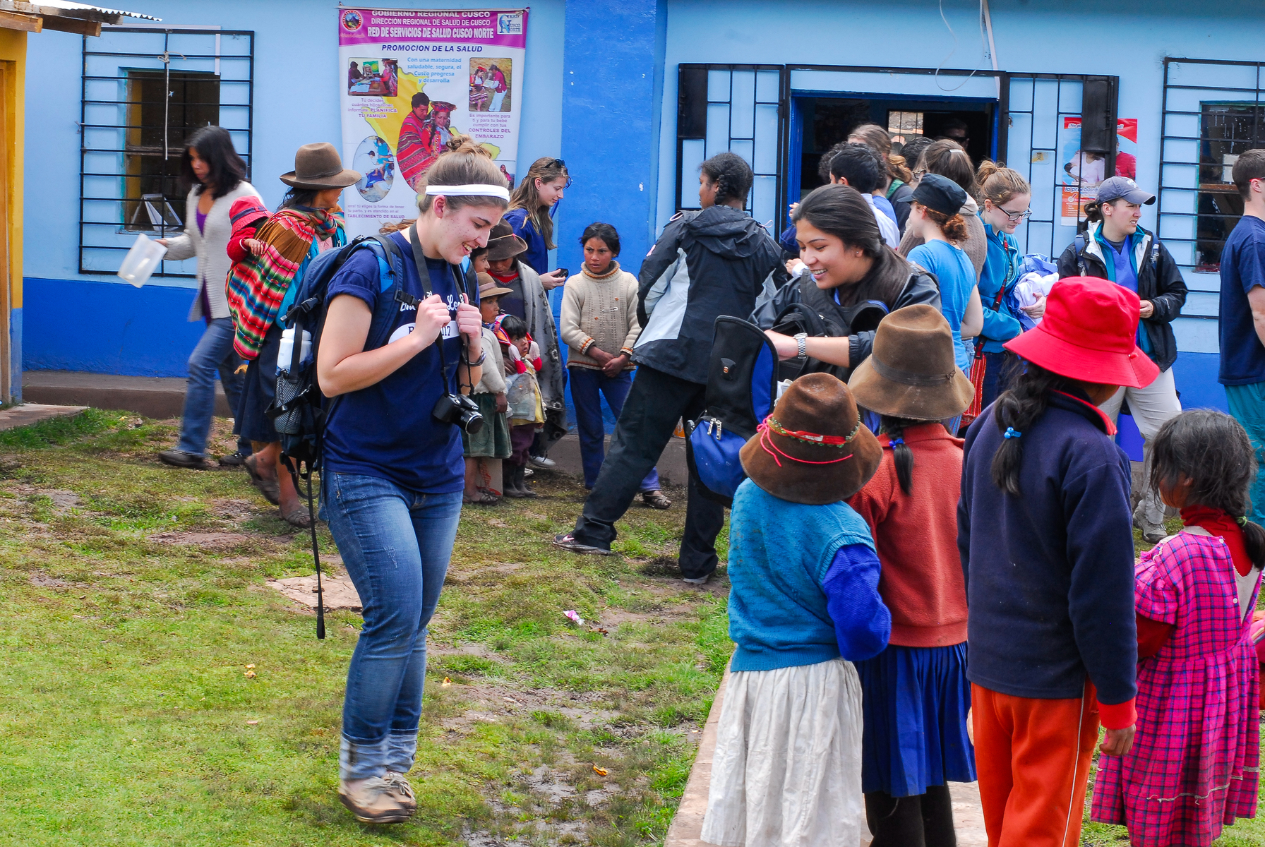 Students engaging with community during travel course to Peru