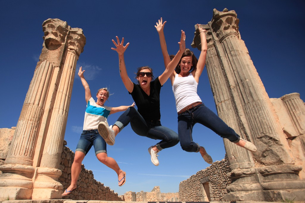 college students at roman ruins in Morocco