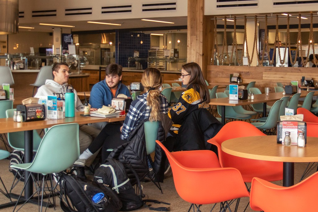 students eat in the dining area on the third floor of the Ripich Commons