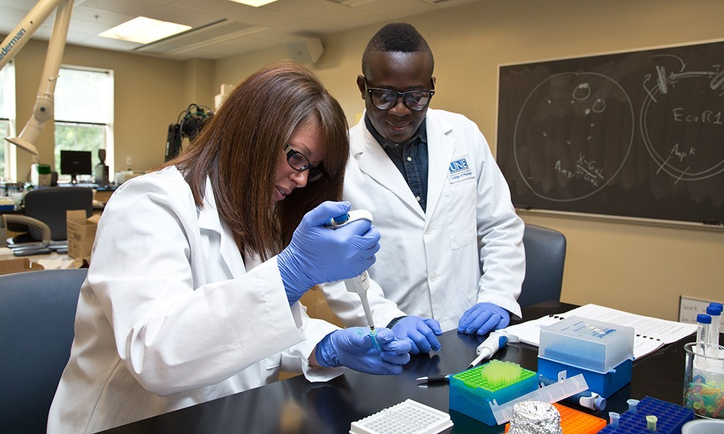 two students in lab coast and gloves work in a pharmacy lab
