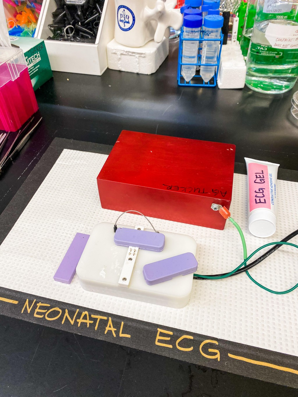 The system developed to take ECGs of neonatal mice pups.