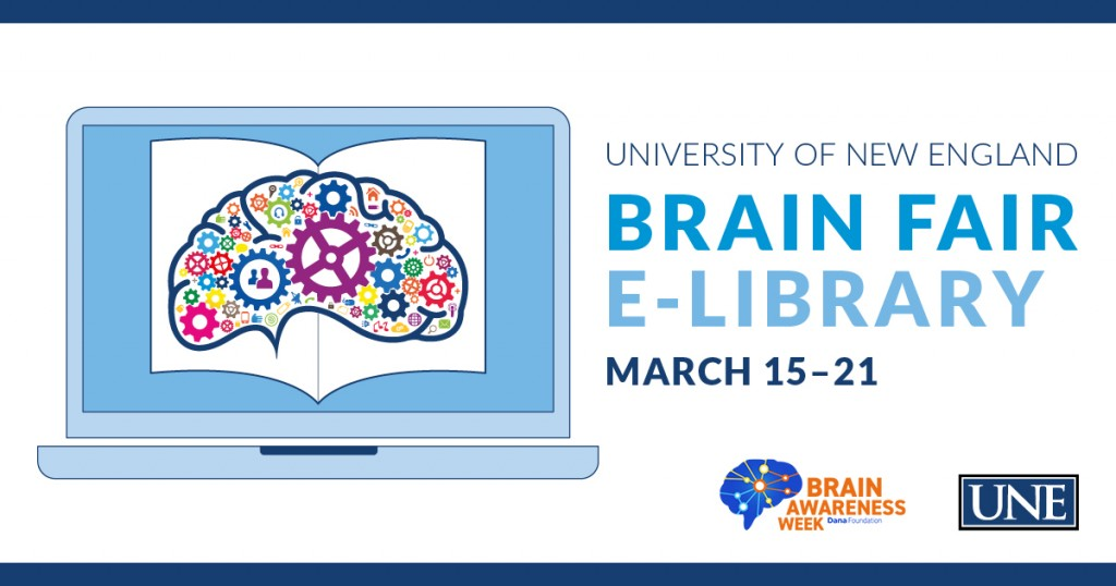 graphic for the u n e center for excellence in neuroscience brain fair depicting a graphic of a brain on a laptop screen