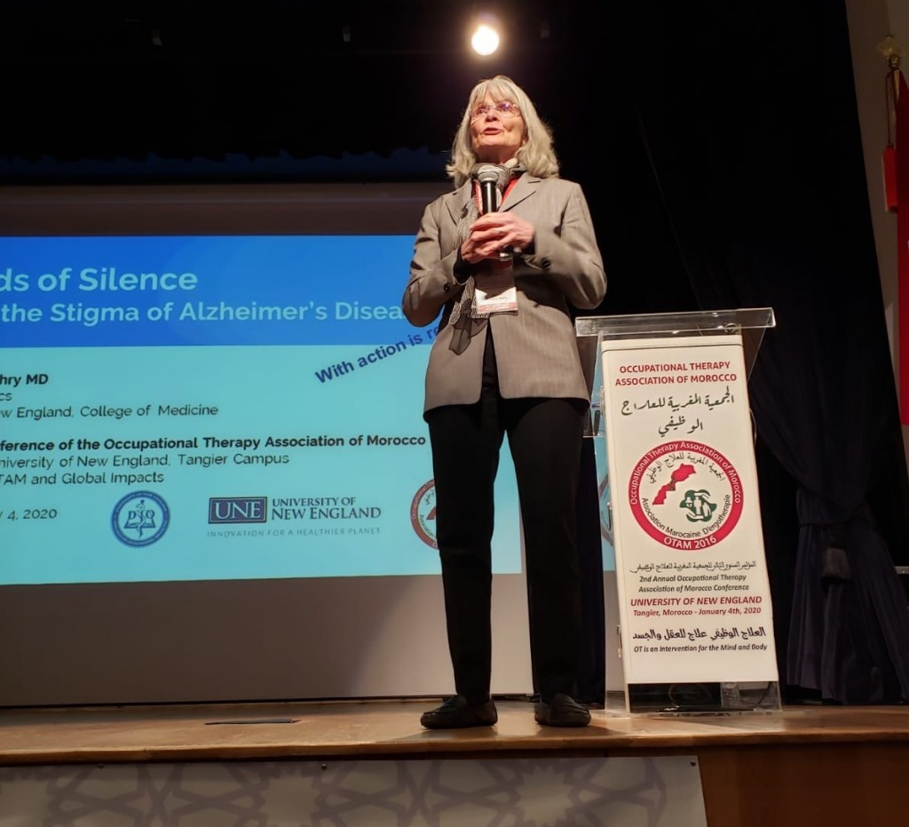 Susan Wehry, M.D., speaks to the crowd at the 2nd OTAM conference in Morocco