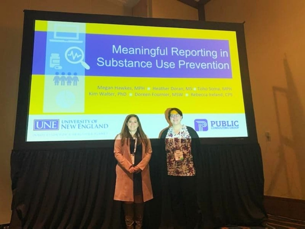 Megan Hawkes and Heather Doran presented on reporting in substance use prevention