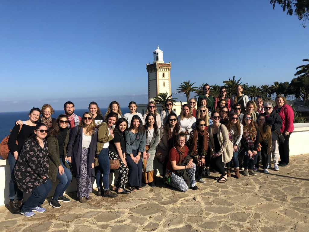 A group of 27 UNE occupational therapy students, plus four students from physical therapy, in Tangier, Morocco