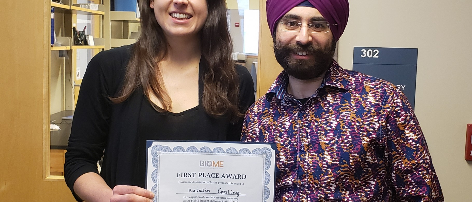 "Katalin Goslin and her mentor Gurkishan ""Guru"" Singh Chadha, assistant clinical professor in the College of Pharmacy"