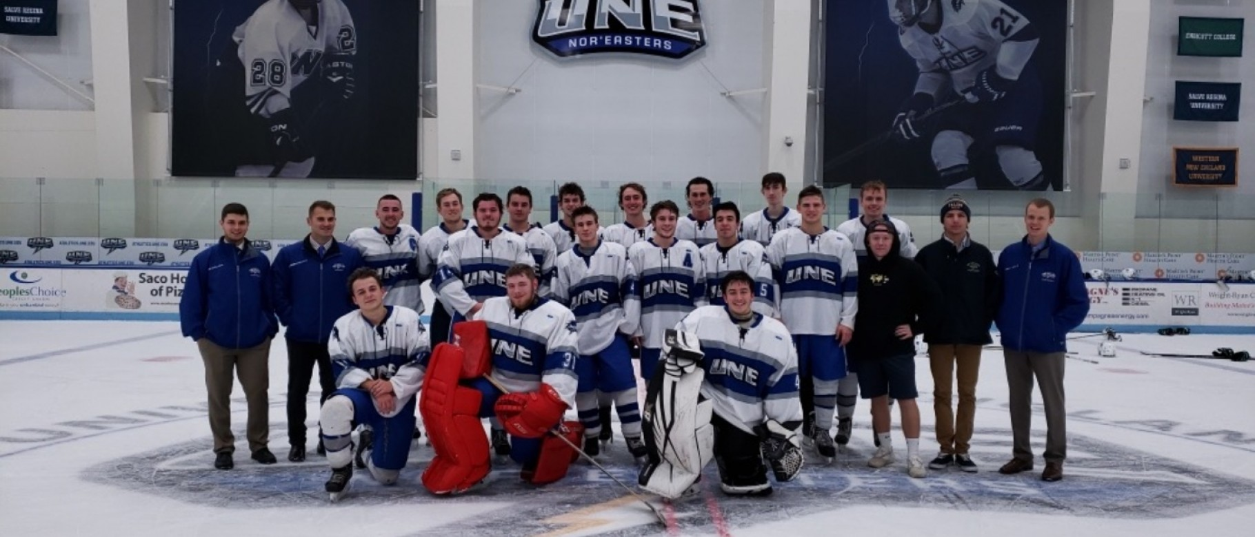 Members of the men's club hockey team raised money to donate to health care workers