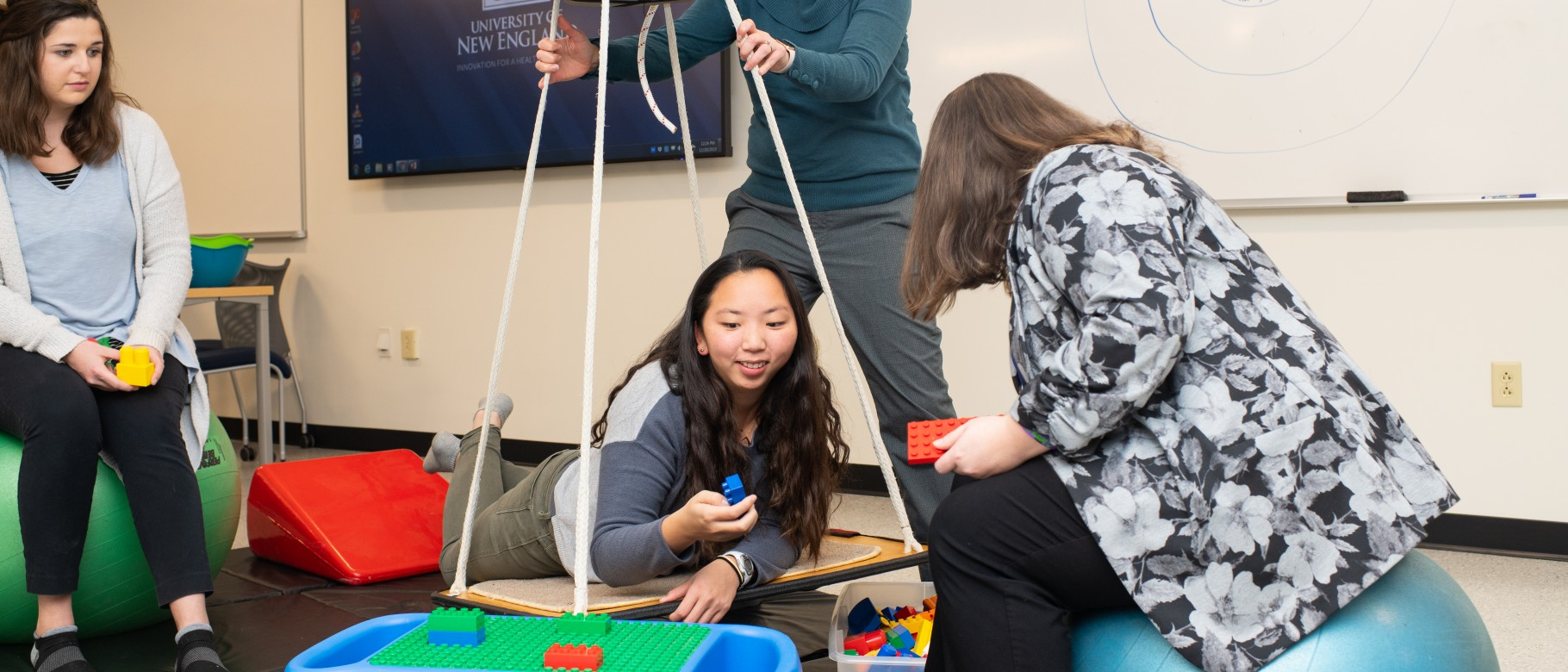 Students learn industry practices in the new Occupational Therapy Lab at UNE's Portland Campus