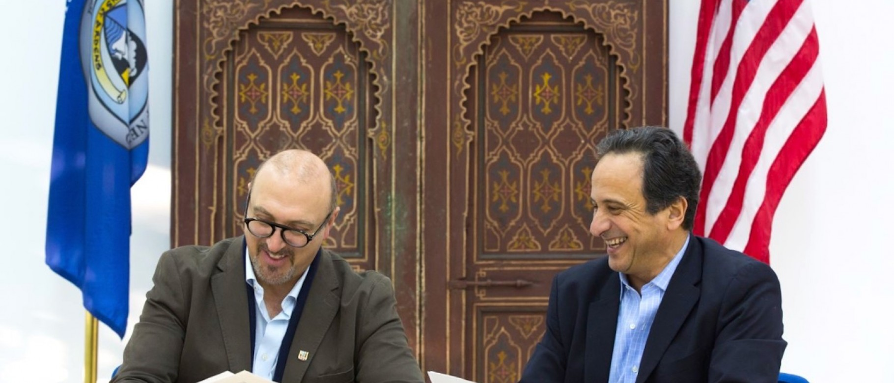 Anouar Majid, Ph.D., and Carl Jubran, Ph.D. sign a study abroad agreement