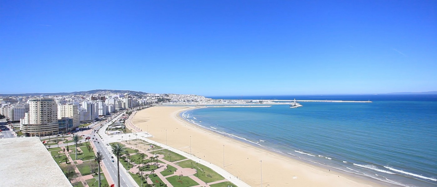Tangier's beaches and ocean-front business district, viewed from a highrise rooftop.