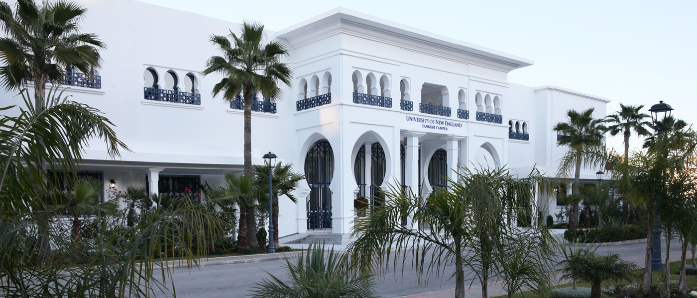 exterior image of the academic building on U N E's tangier, morocco campus