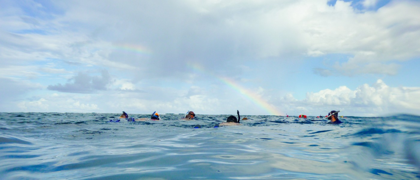 Snorkeling in Belize on the Surface Under a Rainbow