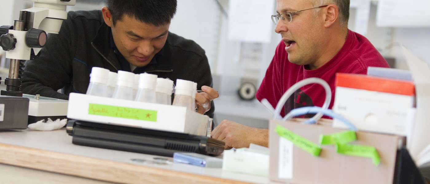 Geoff ganter works with a student in his lab