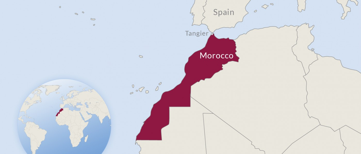 Map of western Africa with Morocco highlighted in red