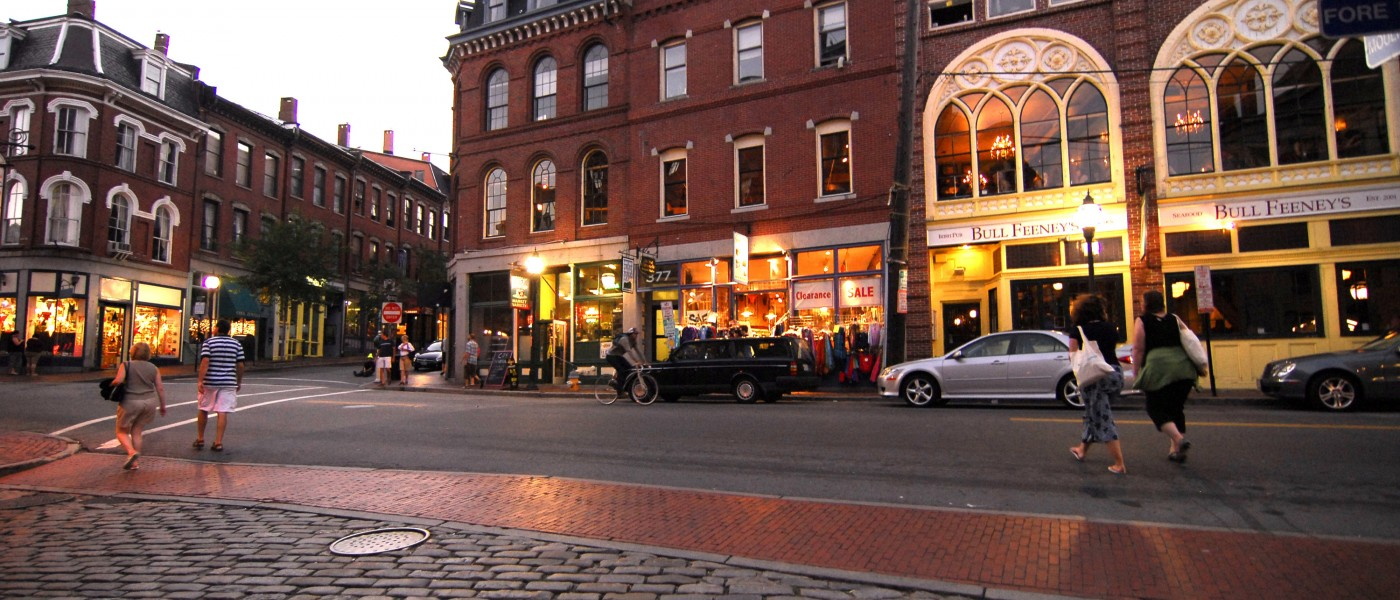 Portland's historic Old Port district at dusk