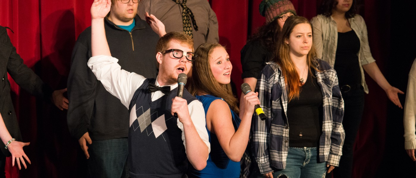 A group of U N E students performing at the Annual Variety Show