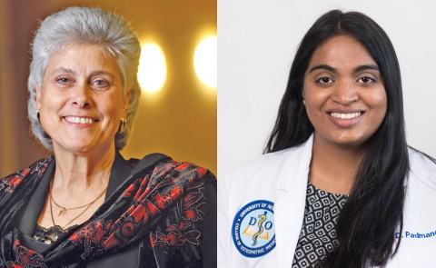 Marilyn Gugliucci, M.A., Ph.D., professor and director of Geriatrics Research at UNE COM (left), and Divya Padmanabhan (D.O., '21).