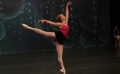 UNE student Julia Lopez rehearses for the lead role in the Maine State Ballet's presentation of The Nutcracker