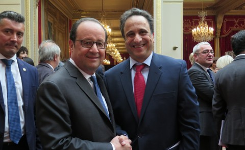 Anouar Majid with French President Francois Hollande