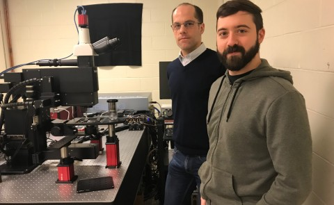 Christoph Straub and Peter Caradonna with UNE's new 2-photon microscope