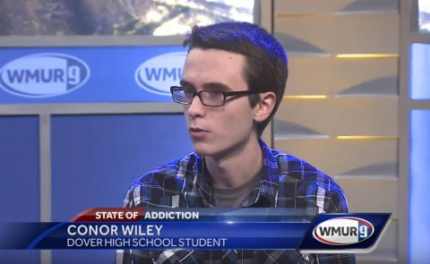 Conor Wiley is interviewed on television station WMUR in 2017 as part of a panel discussion about the opioid crisis. Wiley prese