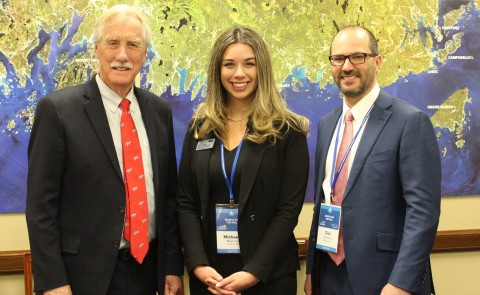 College of Pharmacy student Michaela Myerson in Washington, D.C., with Senator Angus King and CF dad Don Borchert