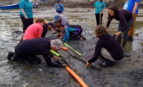 Students helped unearth and recover the canoe off Cape porpoise