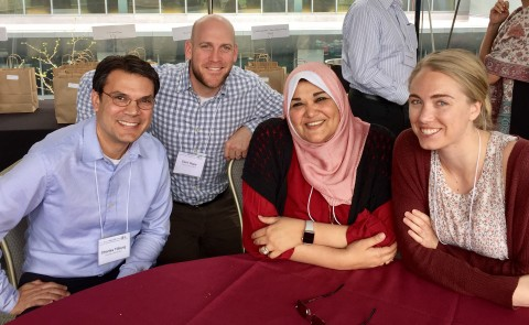 UNE Planetary Health Steering Committee members Charles Tilburg, Zach Miller-Hope, Hywda Arafat and Collyn Baeder