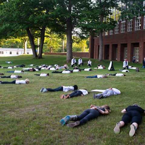 About 70 UNE community members lay face down or kneel in protest of police brutality and systemic racism on June 12.